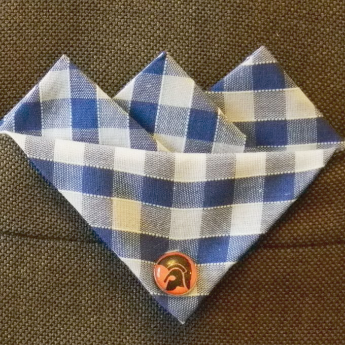 Blue Gingham Pocket Hankie With Black Trojan Head Orange Pin