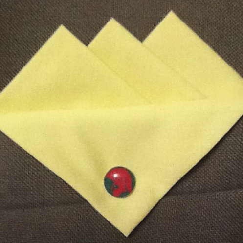 Yellow (Baby Yellow) Pocket Hankie with Green Red Trojan Head Pin