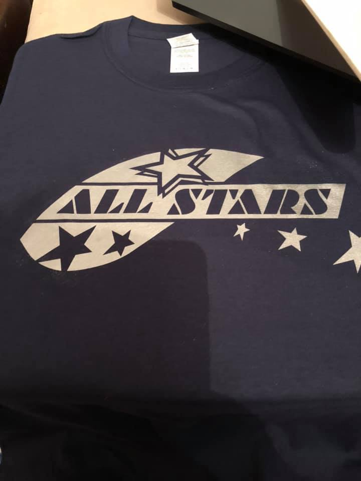 All stars Navy with silver Tshirt