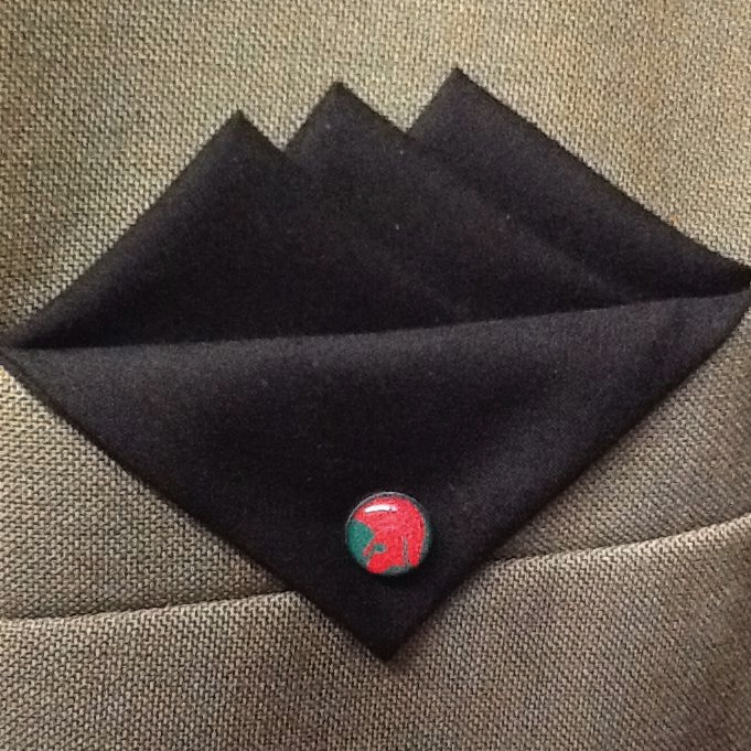Black Three Point Hankie with Red and Green Trojan Pin