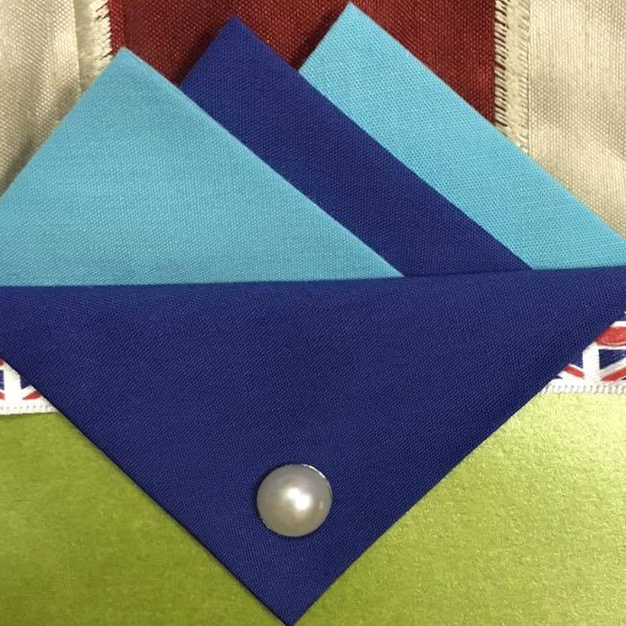 Blue and Dark Blue Hankie With Dark Blue Flap and Pin