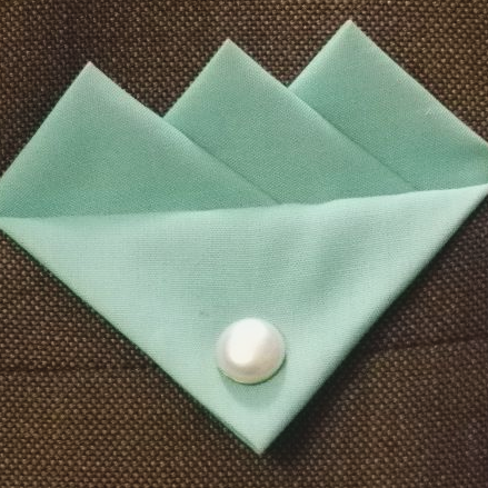 Blue (Coconut Blue) Three Point Pocket Hankie & Pin