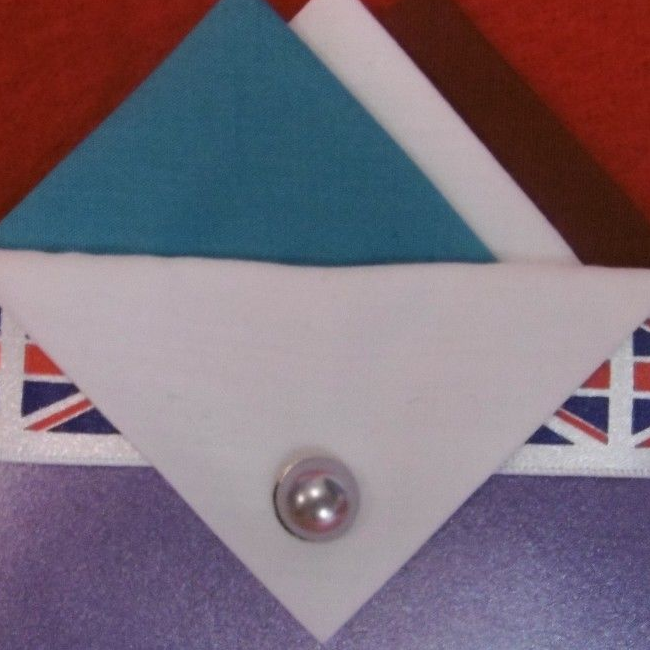 Blue, White and Brown Hankie With White Flap and Pin