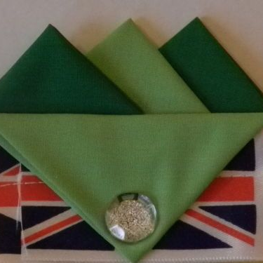 Dark and Light Green Hankie With Light Green Flap and Pin