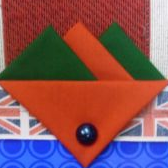 Green and Orange Hankie With Orange Flap and Pin