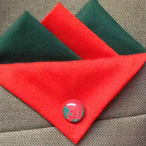 Green and Red Hankie with Red Flap and Trojan Pin