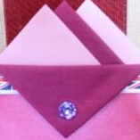 Light Pink and Dark Pink Hankie With Dark Pink Flap and Pin