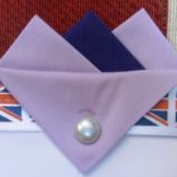 Lilac and Navy Hankie With Lilac Flap and Pin