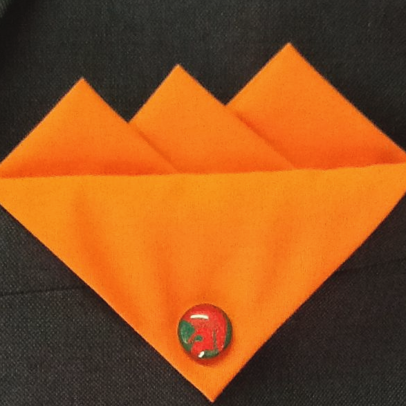 Orange  Three Point Pocket Hankie with Red Green Trojan Pin
