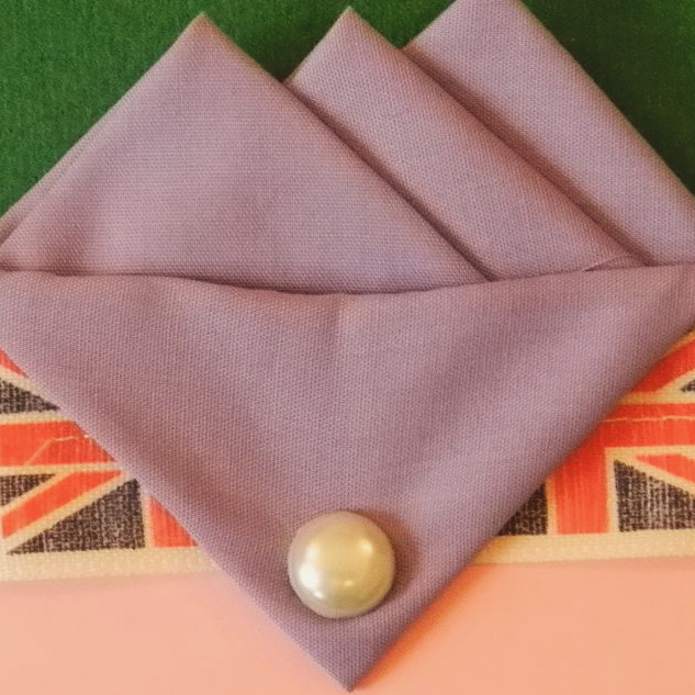 Purple (Dusty Lilac) handmade Three Point Pocket hankie