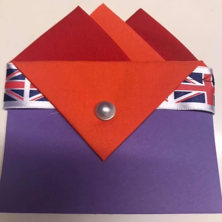 Red and Orange Pocket hankie with Orange flap and pin (6)