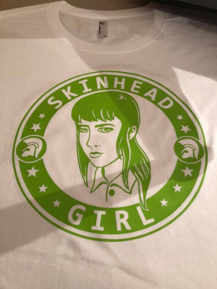 SKINHEAD GIRL White with Green
