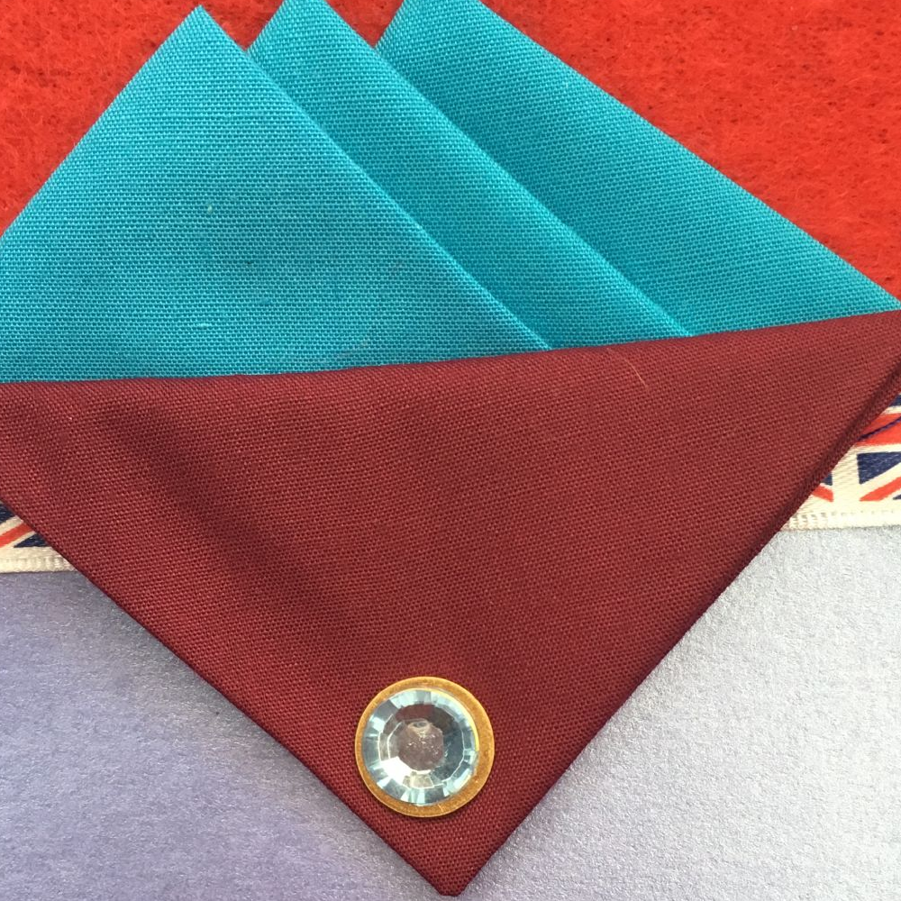 Turquoise Blue Hankie With Burgundy Flap and Pin