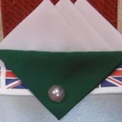 White Hankie With Green Flap and Pin