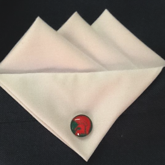 White Three Point Pocket Hankie with  Red and Green Trojan Pin